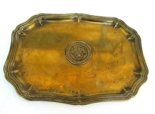 Vintage United States West Point Military Academy stamped Brass Tray with emblem