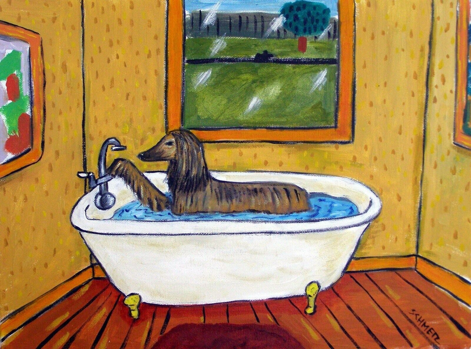 Boston terrier taking a bath 8.5x11 bathroom  dog art print