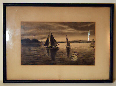 """Antique 11"""" Pencil Drawing Sketch Seascape With Sailboats Shore View"""