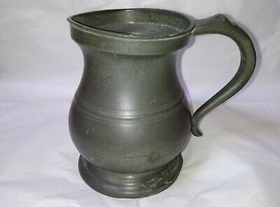 Victorian Quart Pewter Bellied Measure Yates & Birch of Birmingham