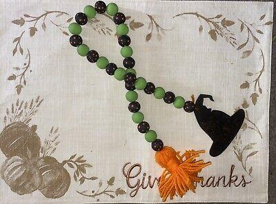 Halloween Wooden Garland Beads. Green & Black With Orange Polka Dots