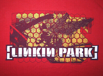 2001 Linkin Park Red Hybrid Theory Concert T-Shirt Tee Size Large