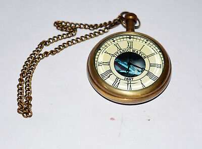Antique vintage maritime brass pocket watch collectible titanic watch good gift
