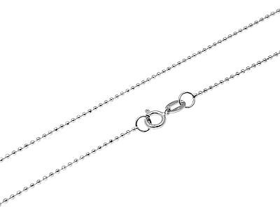 """1MM SOLID 14K WHITE GOLD DIAMOND CUT BEAD BALL CHAIN NECKLACE 16"""" 18"""" 20"""" 22"""" 24"""