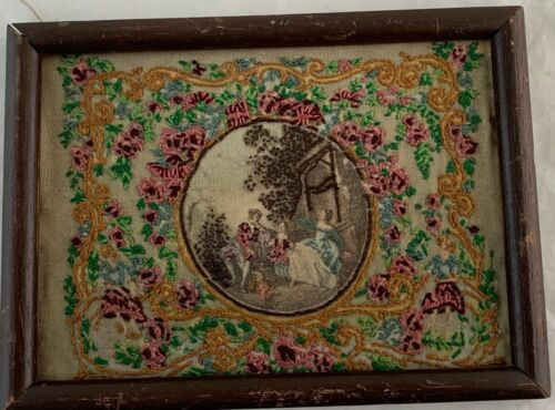 ANTIQUE 18TH CENTURY SMALL EMBROIDERY FRAMED ROMANTIC SCENE FRAGONARD