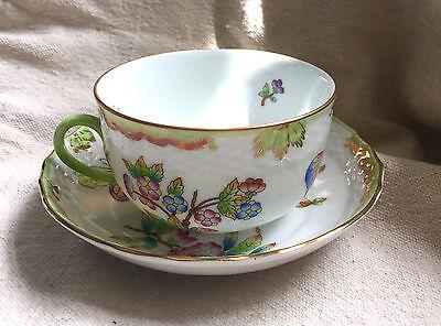 Herend QUEEN VICTORIA (GREEN BORDER) 1726 Tea Cup & Saucer 1726