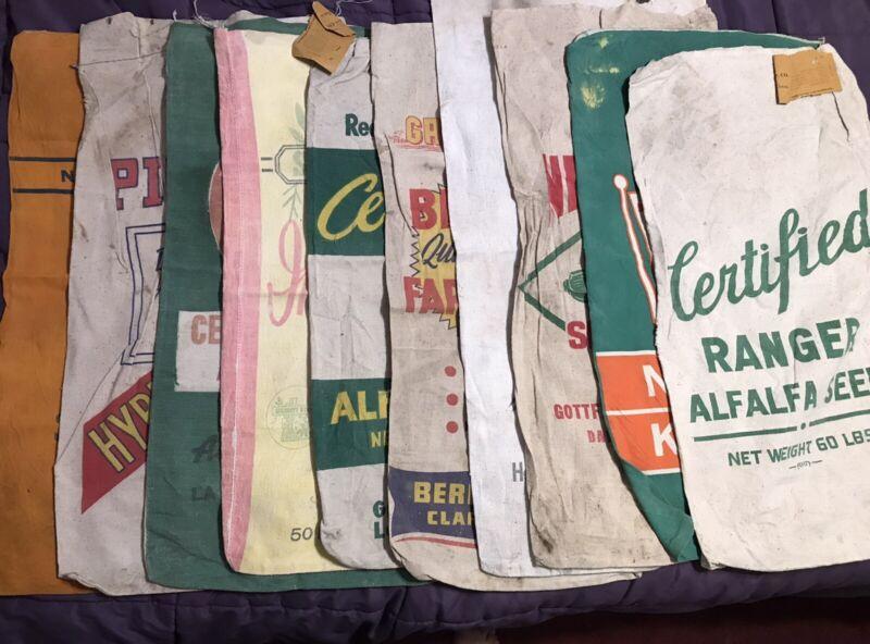 Incredible Ten True Vintage Colorful Cloth Seed Bags Sacks 1950's Lot