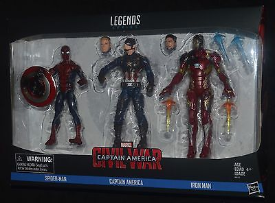 AVENGERS CIVIL WAR Spider-Man, Captain America & Iron Man 3-Pack Marvel Legends