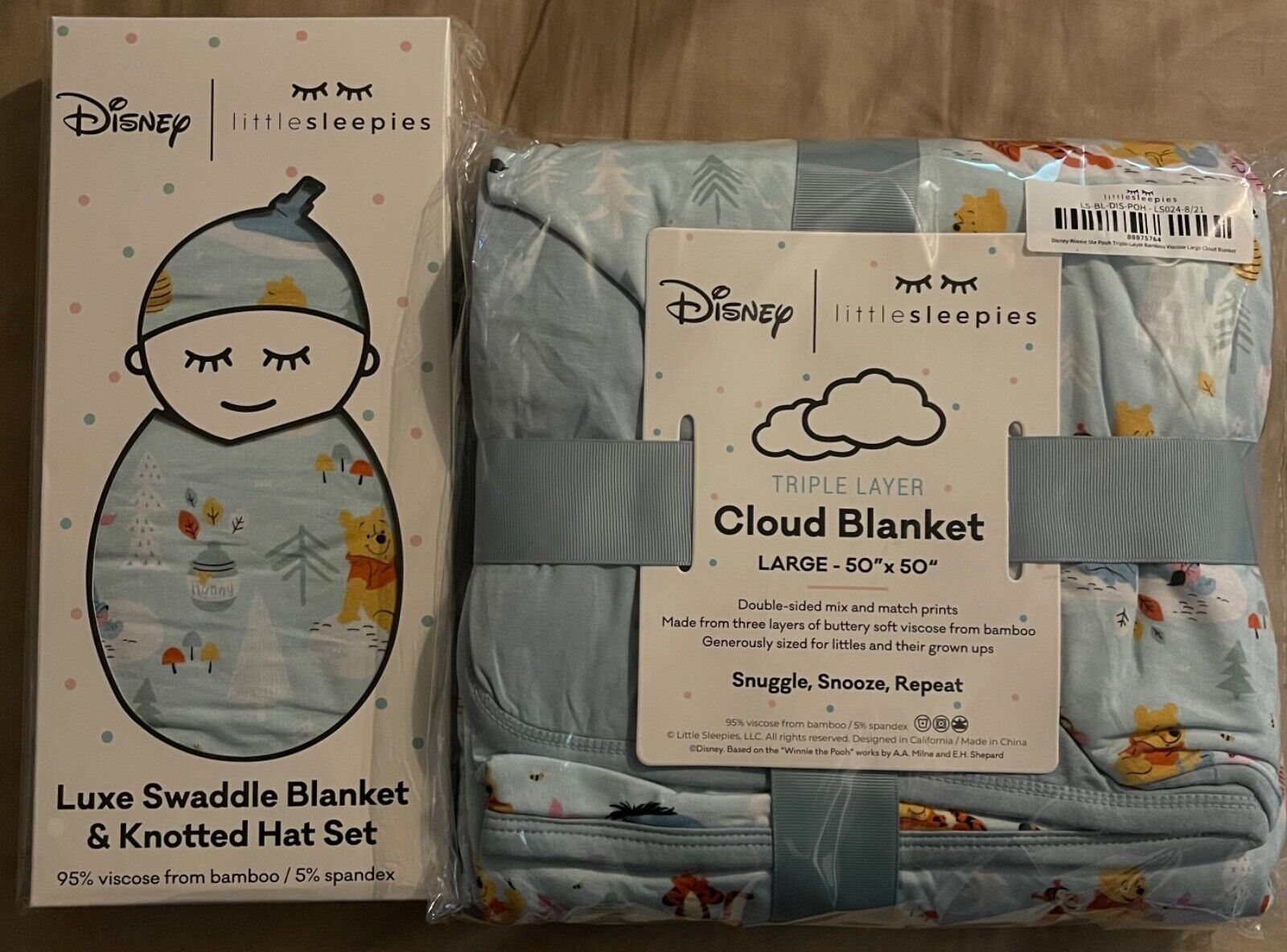 Little Sleepies Pooh And Pals Cloud Blanket And Swaddles - $150.00