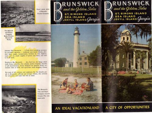Brunswick Georgia Golden Isles Vintage Travel Brochure B&W Photos Map 1940s-50s