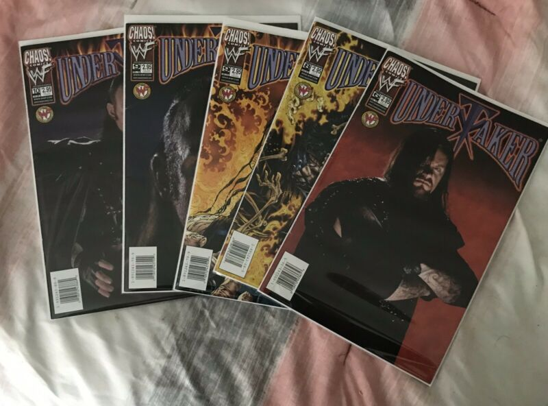 Lot of 5 1999-2000 Chaos Comics WWF Undertaker Comic Books Photo & Art Covers