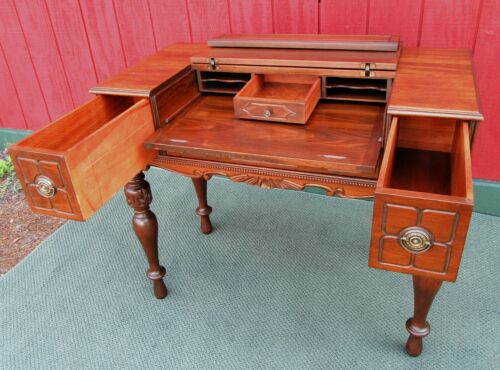 Antique Walnut Spinet Piano Desk ~Flip Top Writing LapTop Office Secretary Table