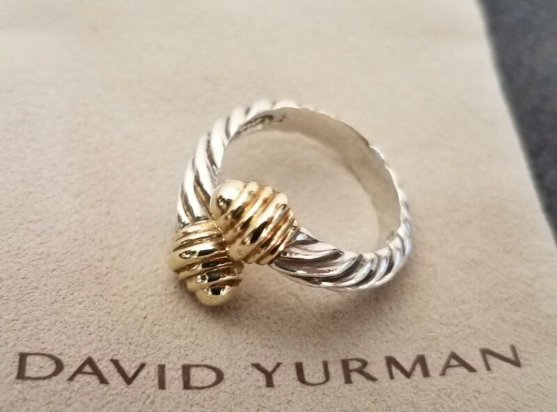 David Yurman Designer Sterling Silver 14k Cable Twist Bypass Ring Size 6 ~ Rare!