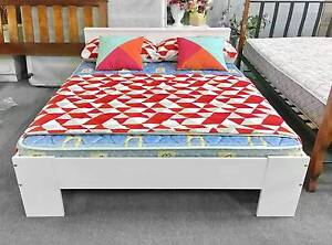 DELIVERY TODAY BEAUTIFUL WHITE Wooden queen bed & mattress Belmont Belmont Area Preview