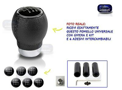 Pomello Cambio Pelle Universale leva 5 e 6 marce auto nero kit tuning per marce