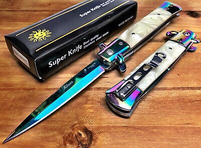 """8.75"""" Italian Milano Damascus Assisted Open Pocket Knife Knives EDC Sharp - WRB"""