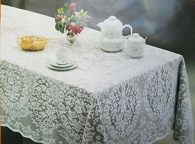 White Lace Oval Tablecloth.Perfect for wedding reception seating of 8-10 -