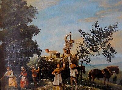 MÄGDE & KNECHTE BEI DER HEU- / STROHERNTE - Öl-Kunstdruck, gerahmt