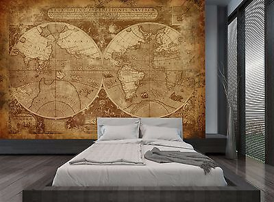 Giant Old World Map Brown Wall Mural