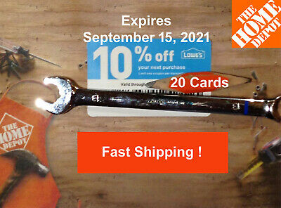 Twenty (20) Lowes 10% for Home Depot only Exp September 15, 2021