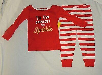 Neu Baby Mädchen Weihnachten Schlafanzüge 2-tlg Hose Langärmlig Glitzer Größe