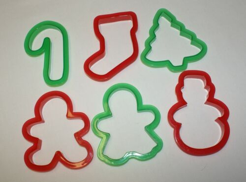 Lot of 6 Cookie Cutters Christmas Ginger Boy & Girl Tree C Cane Stocking Snowman
