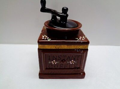 """Ceramic Instant Coffee Jar Holder Shaped as a Grinder 6"""" x 4"""" x 4"""" Made in Japan"""