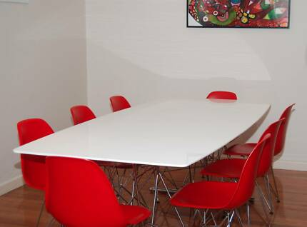 Dare Gallery White Gloss Dining Glass Table X 8 Red Eames Eiffel Newport Hobsons Bay Area Preview
