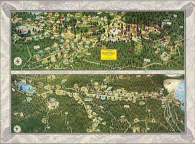 1952 PICTORIAL Map Bohemian Grove Sonoma County California POSTER 9877002