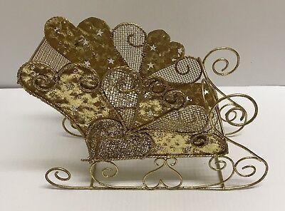 Christmas Sleigh Decoration (❤Gold Mesh Metal Holiday Christmas Sleigh Table Display Centerpiece Decoration)