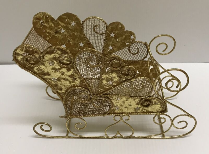 ❤Gold Mesh Metal Holiday Christmas Sleigh Table Display Centerpiece Decoration ❤