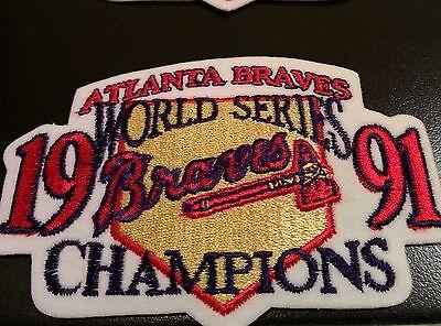 Atlanta Braves World Series Champions (2  World Series Champions 1991 Patch Jersey Sleeve Atlanta Braves RARE Twins Won)