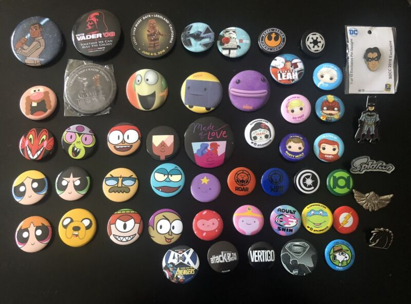 SD Comic Con Buttons And Pins Collection Star Wars/Cartoon Network/Funko/DC/Nick