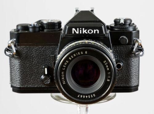 Exc ++  Nikon FE Black Body w/Nikkor 50mm F1.8 Prime Lens Tested/Guaranteed!