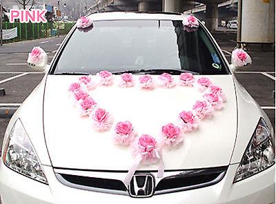 Wedding decorations car flowers home garden ebayshopkorea set of 28 flowers wedding car heart rose decorations kit pink bow set junglespirit Choice Image