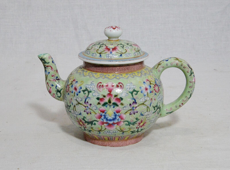 Chinese  Famille  Rose  Porcelain  Teapot  With  Studio  Mark     M697