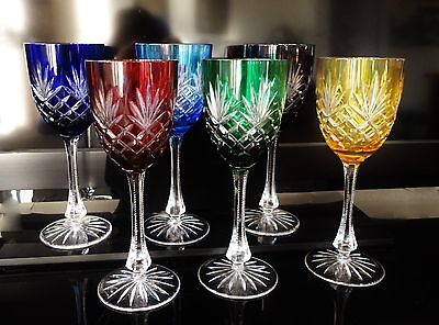 """Set of 6 Faberge Water Wine Goblets Odessa 8 7/8"""" Cased Cut to Clear Crystal"""