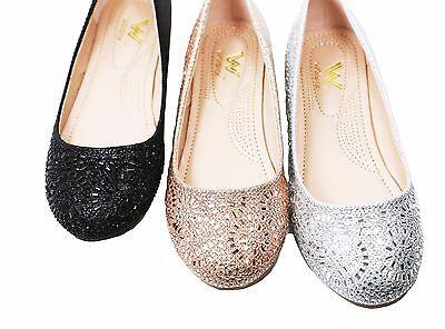 New Women's Glitter Rhinestone Ballerina Ballet Flats 6 - 10 Black Silver Gold