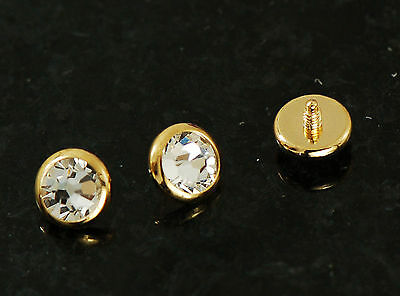 3 Pc 14g 5mm 14K Gold Plated On Surgical Steel W/ Clear CZ Flat Dermal Heads Top 14k Gold Plated Labret