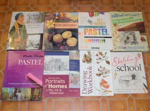 Lot of 8 Art Books Drawing, Sketching Colored Pencils, Pen Ink, Pastels