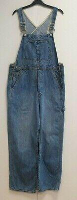 WOMENS VINTAGE GAP BLUE DENIM WIDE LEG DUNGAREES US L UK XL 14-16 W34-38 L29