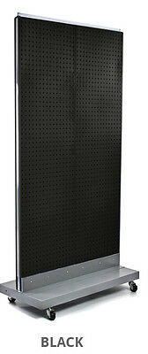 2-sided Pegboard Floor Display In Black 32w X 60h Inches With Wheeled Base