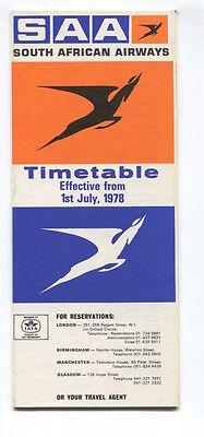 SOUTH AFRICAN AIRWAYS SAA TIMETABLE JULY 1978 SAL