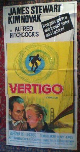 ORIGINAL Vertigo-Alfred Hitchcock-1958 40 x 78 INDIA Three Sheet Movie Poster