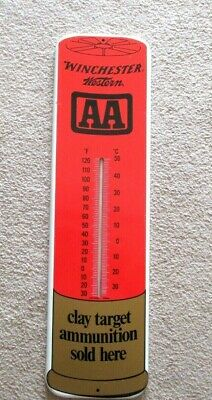 """VINTAGE WINCHESTER WESTERN SHOTGUN SHELL-HUNTING METAL SIGN THERMOMETER-26.5"""""""