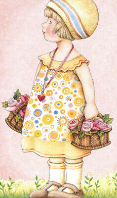 BASKETS OF LAVENDER ROSES-Handcrafted Easter Fridge Magnet-W/Mary Engelbreit art
