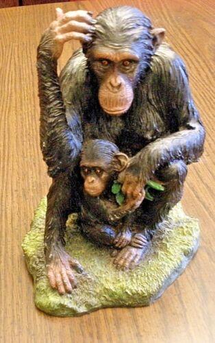 "RARE Veronese Monkey Ape Figure Mother & Son 8"" tall Chimp Ape"