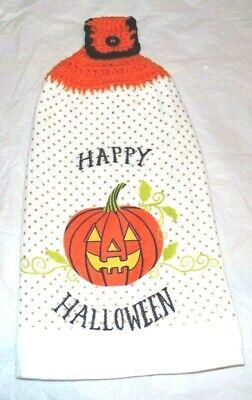 XL PLUSH KITCHEN/HAND TOWEL W/CROCHETED TOP FOR HANGING/HAPPY HALLOWEEN PUMPKINS