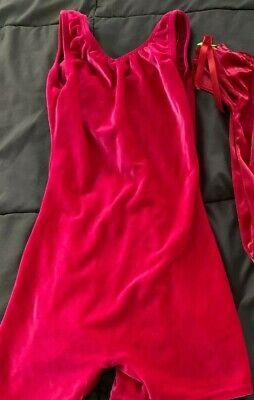 Hot Girl Leotard (Girl's hot pink stretch velvet dance leotard by Motion Wear)