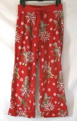 Nick & Nora Sock Monkey Sleep Pants Red Medium Fleece Snowflake Pull On CBJ13 ()
